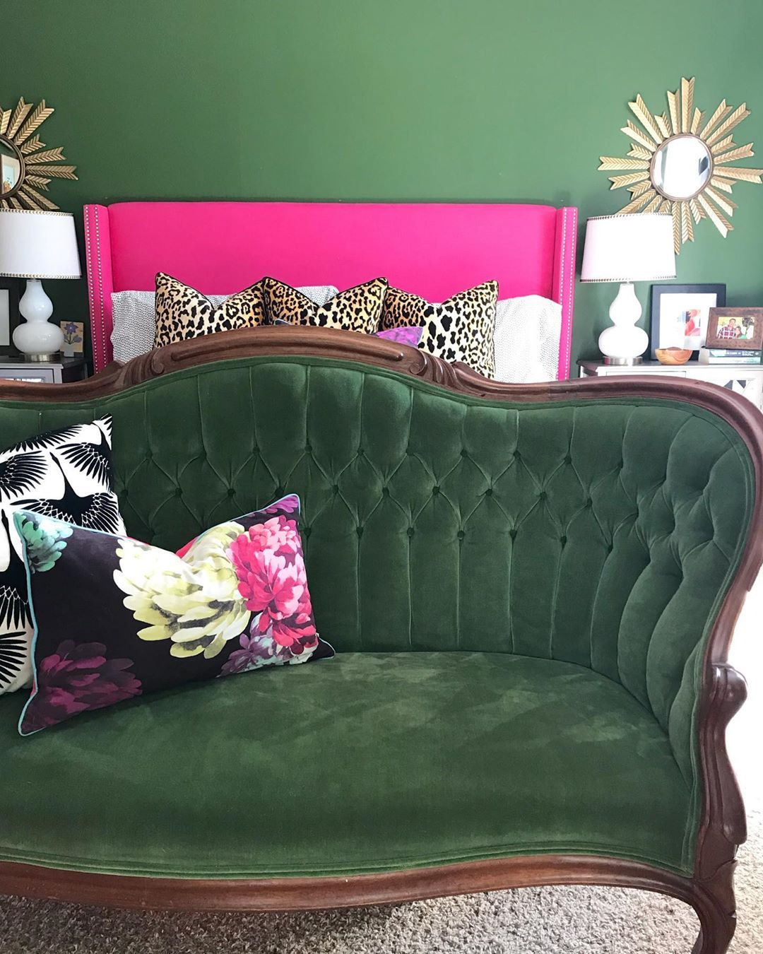 Dark Green Walks With Fuschia And Leopard Print Leopard Print Bedroom Room Design Bedroom Decor