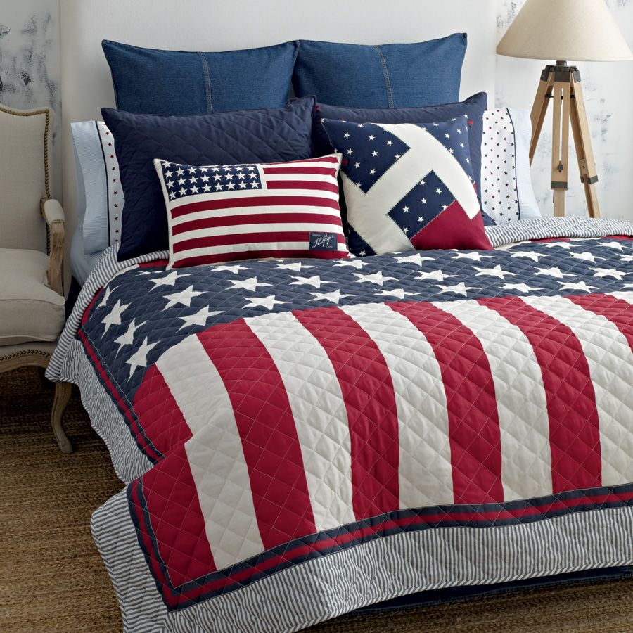 Red White Blue Bedding Twin Quilt Tommy Hilfiger