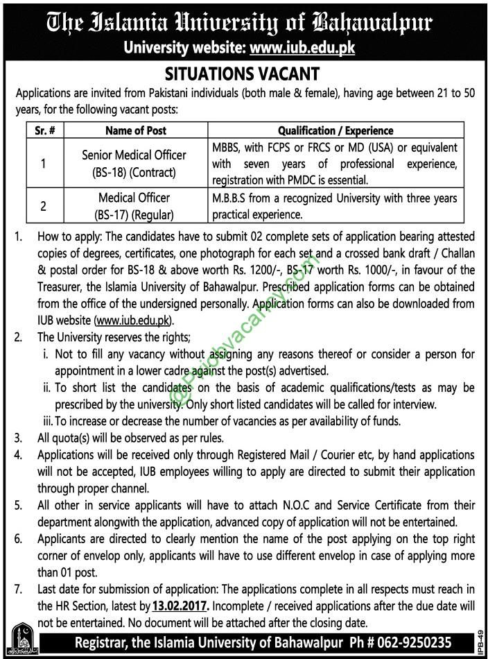 Islamia University Of Bahawalpur Iub Medical Officer Jobs