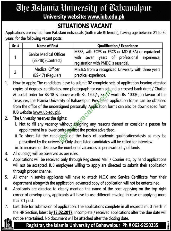 Islamia University Of Bahawalpur Iub Medical Officer Jobs