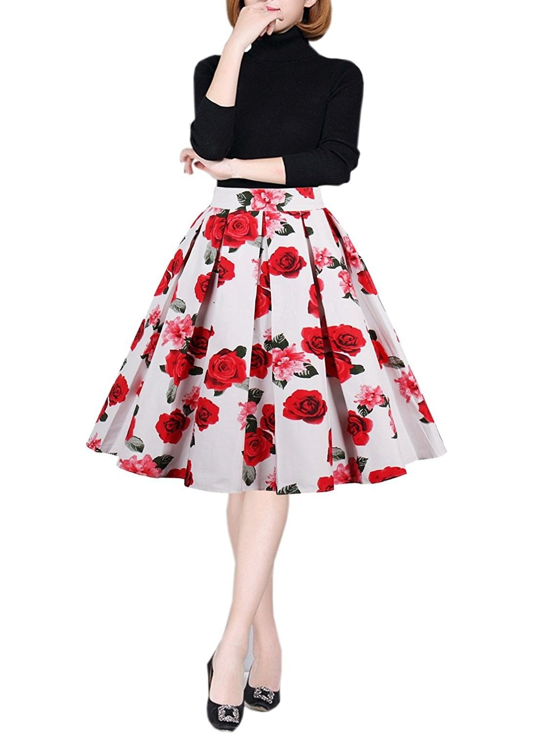 4527f8e95 Women's Retro Printed Flared Skirt A-Line Swing Casual Pleated Midi Skirts  - E05 - CI187ZE50Q2,Women's Clothing, Skirts #women #fashion #style  #outfits ...