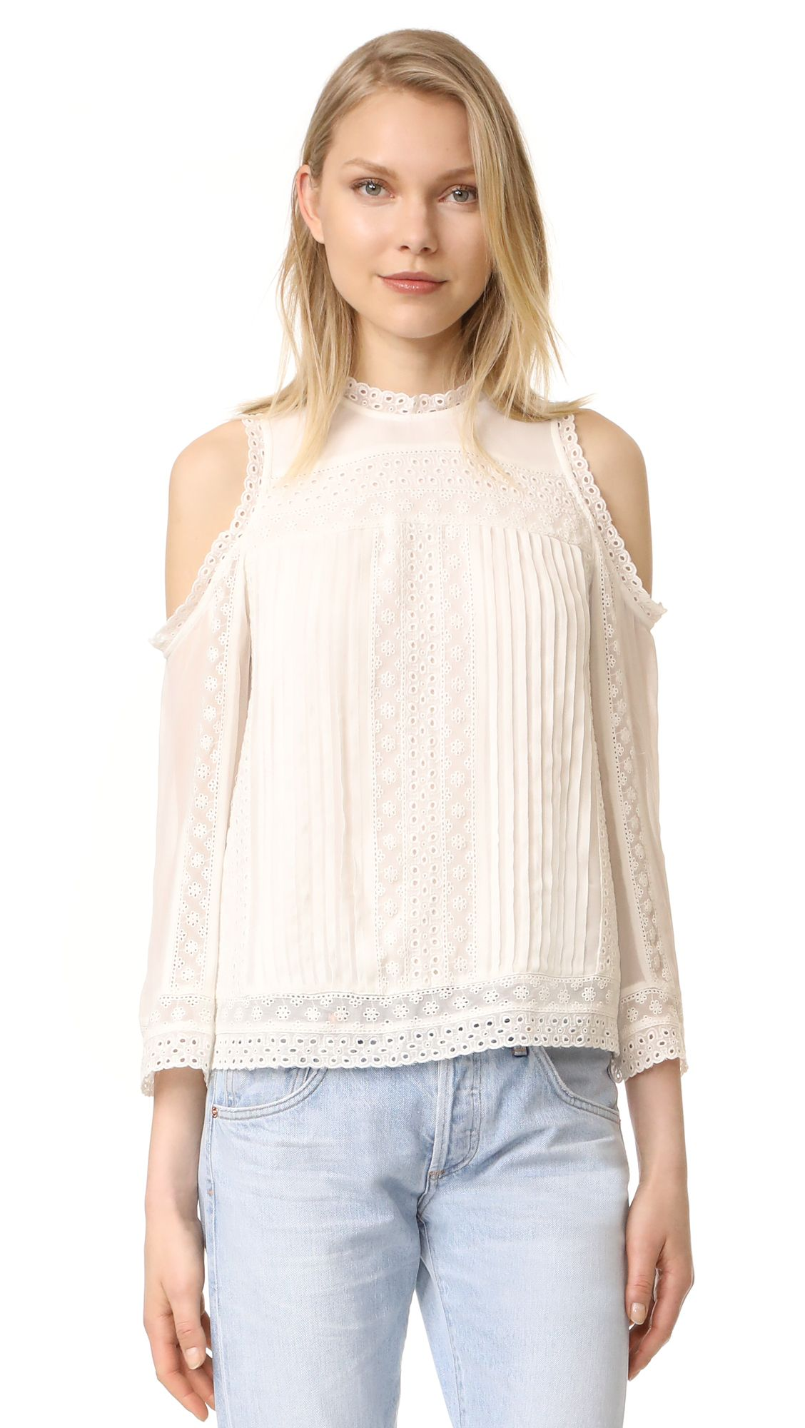 a0be20217b81f Alice + Olivia Ofelia Embroidered Cold Shoulder Blouse