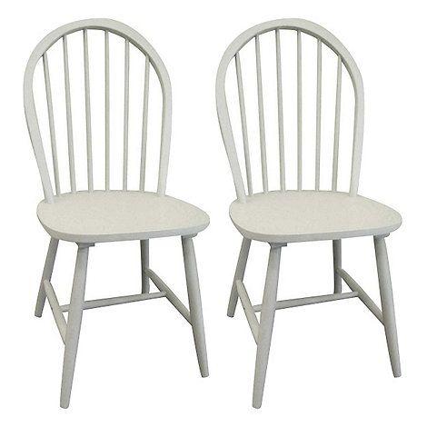 Debenhams Pair Of Grey Painted Windsor Chairs