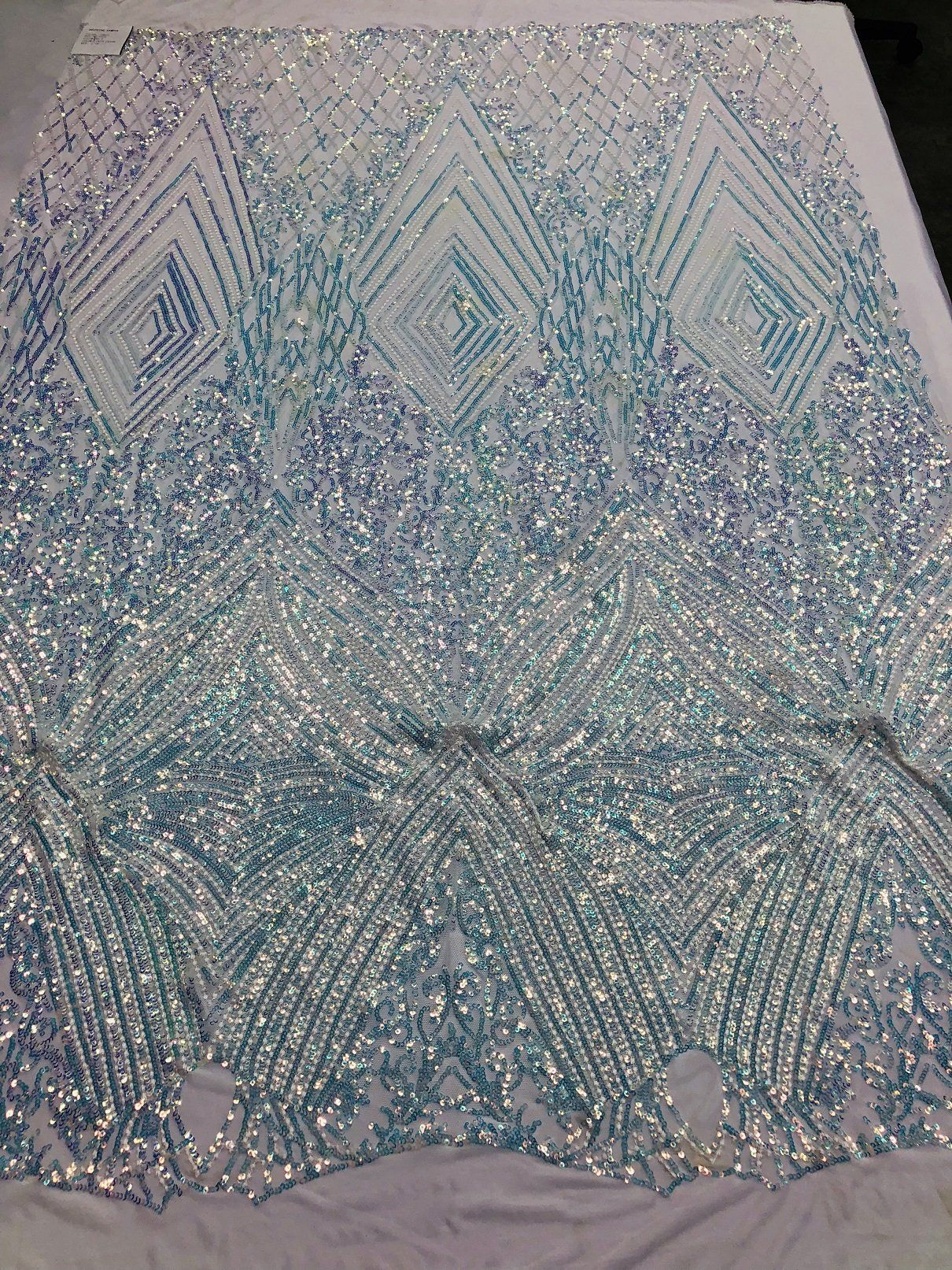 4 Way Stretch Sequins Fabric Iridescent Lilac Mesh Lace Fabric Prom-Gown 1Yard
