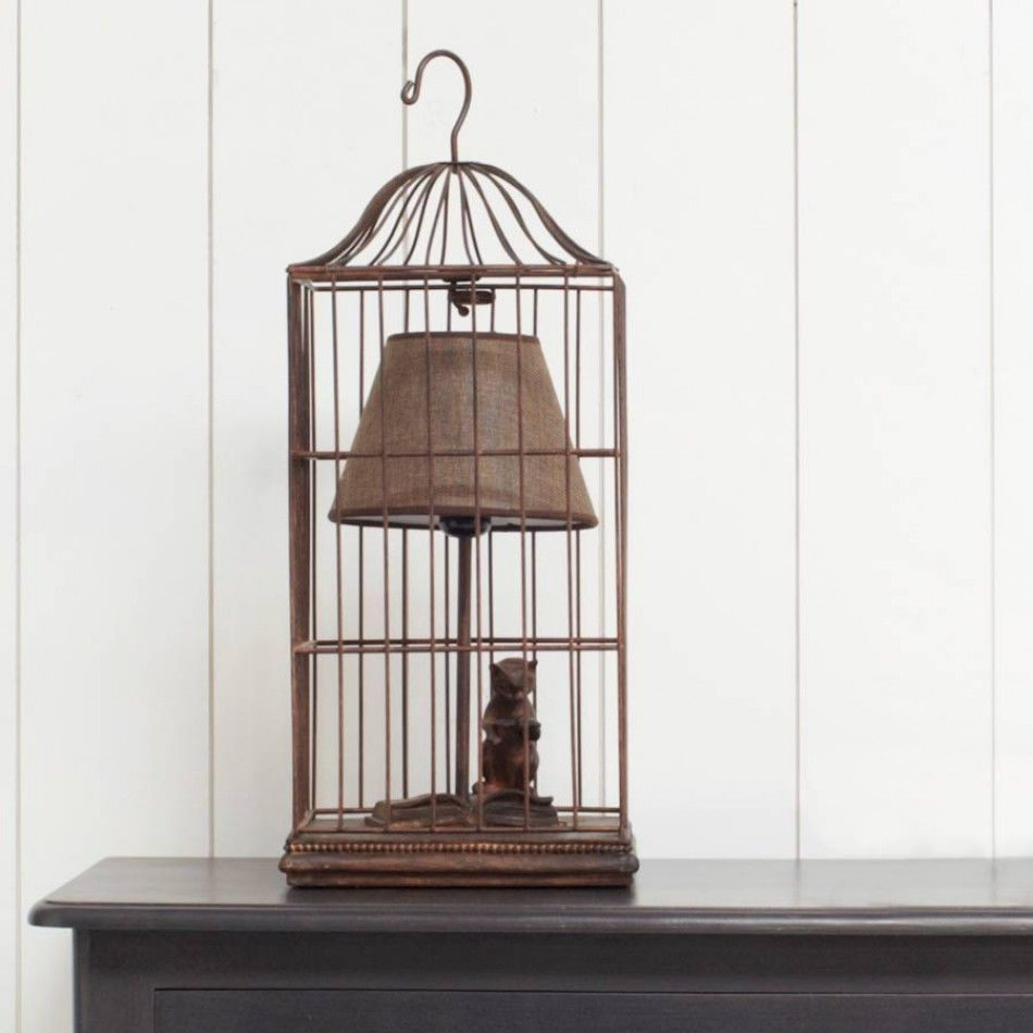 Hee hee cat in a bird cage reading lamp repurposed sylvester table lamp a cat in a bird cage reading a book from graham green geotapseo Image collections
