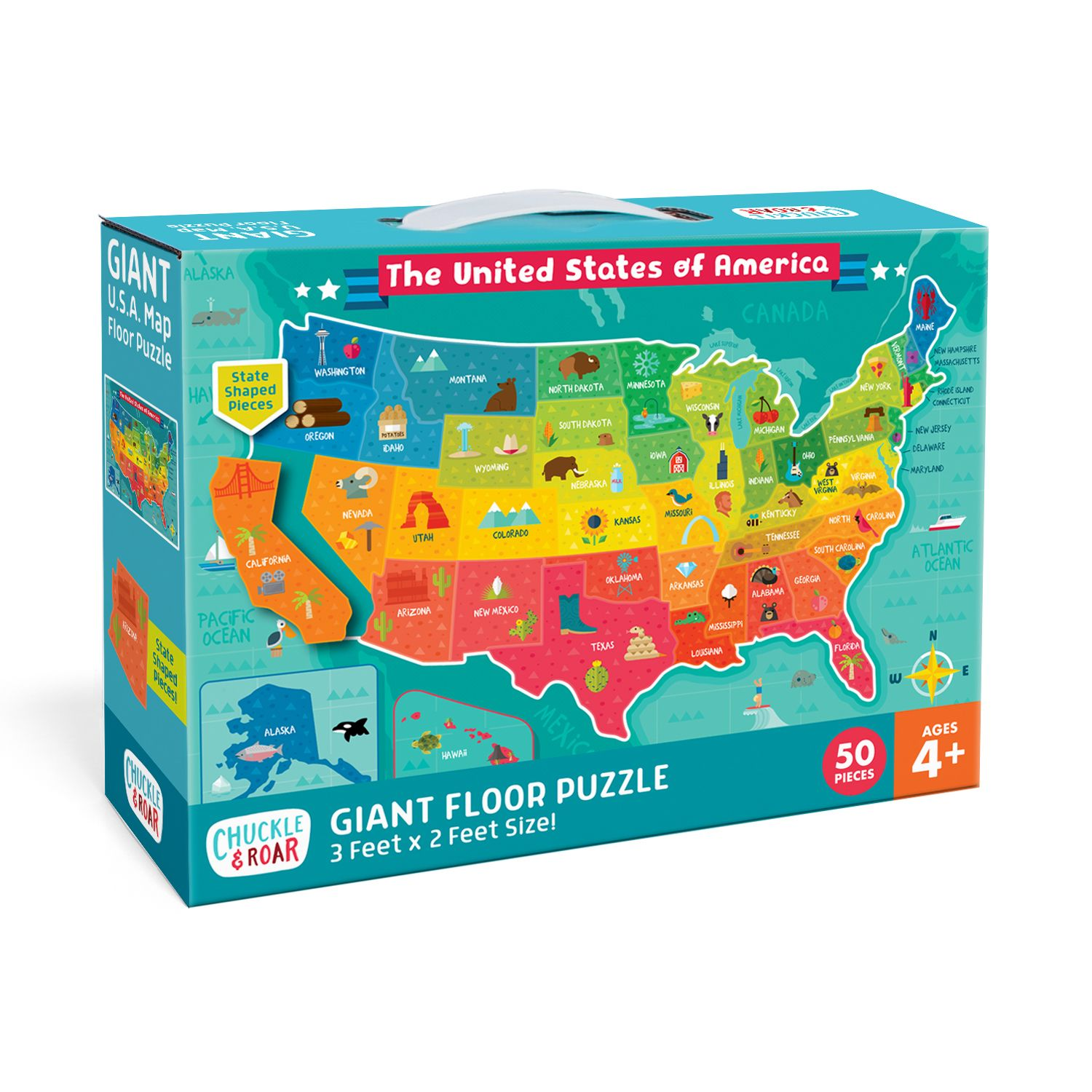 USA Map 50 Piece Jigsaw Floor Puzzle Giant floor puzzle