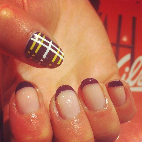 French Tip With Tartan Thumbs By Wah Girl Amy Nails Nailart Nail