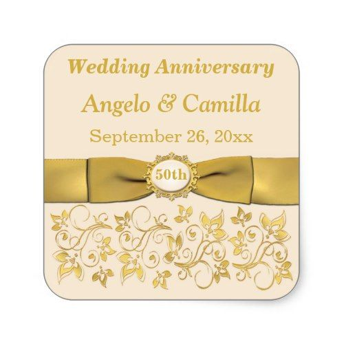Ivory Gold Floral 50th Wedding Anniversary Sticker