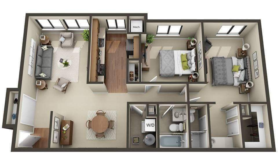 Awesome Apartment 3d Floor Plan Ideas To See More Read It In 2021 Floor Plan Design Sims House Design Apartment Floor Plans