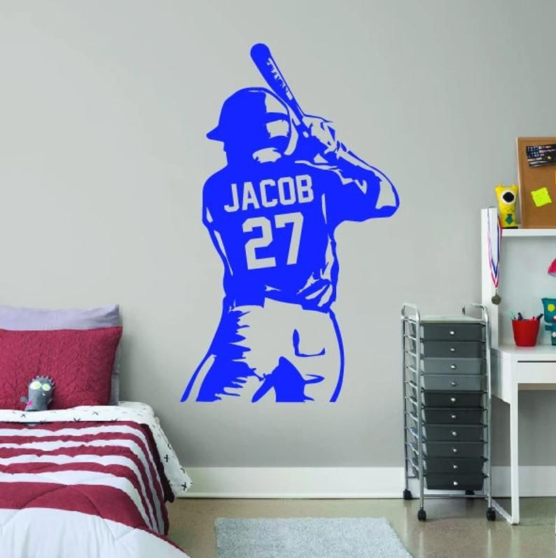 Personalized Half Baseball Player Baseball Wall Art Choose Name And Jersey Numbers Sports Wall Decal Baseball Wooden In 2021 Sports Wall Decals Baseball Wall Baseball Wall Decal