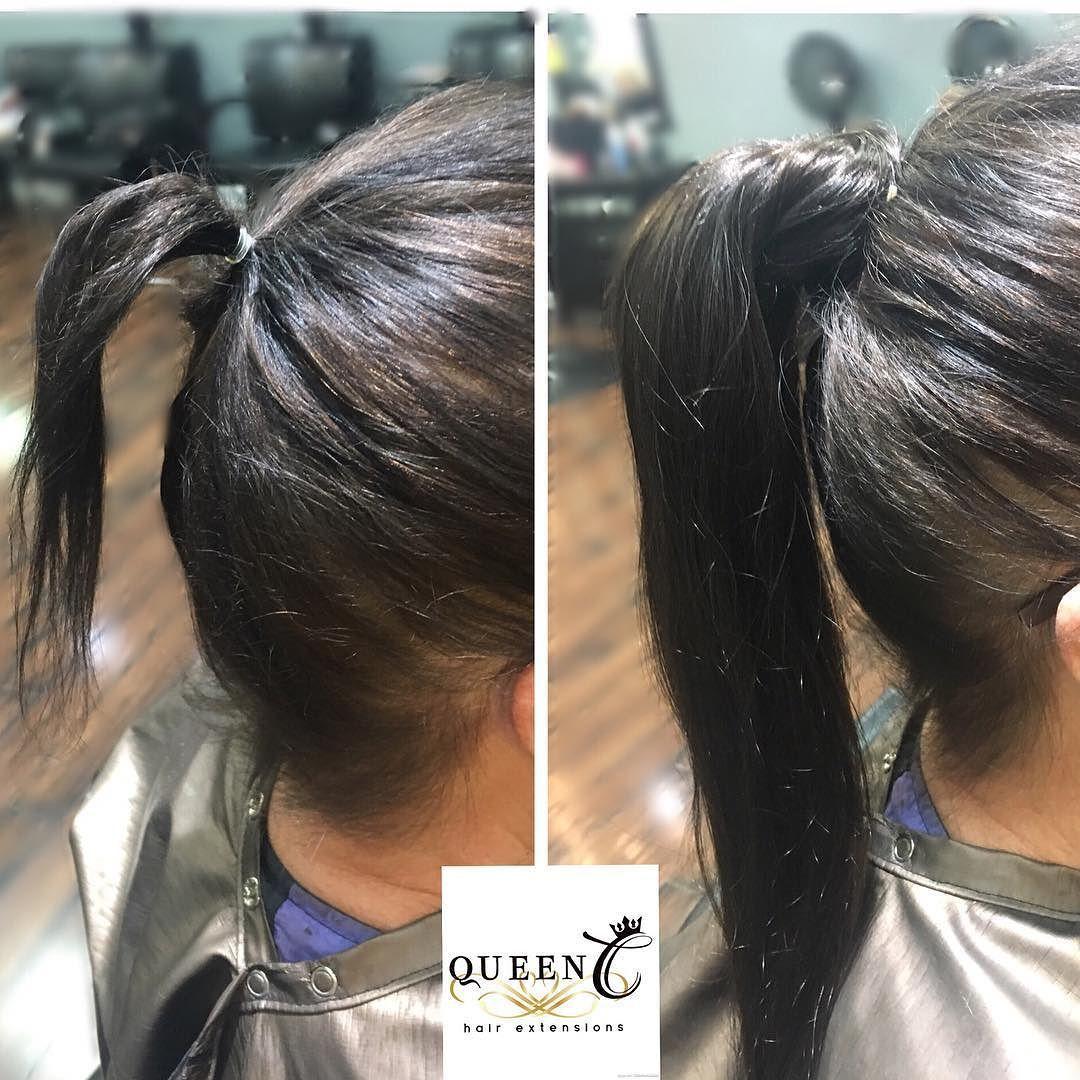 Airess Clip Tie Ponytail Dark Brown Thin Fine Hair Front