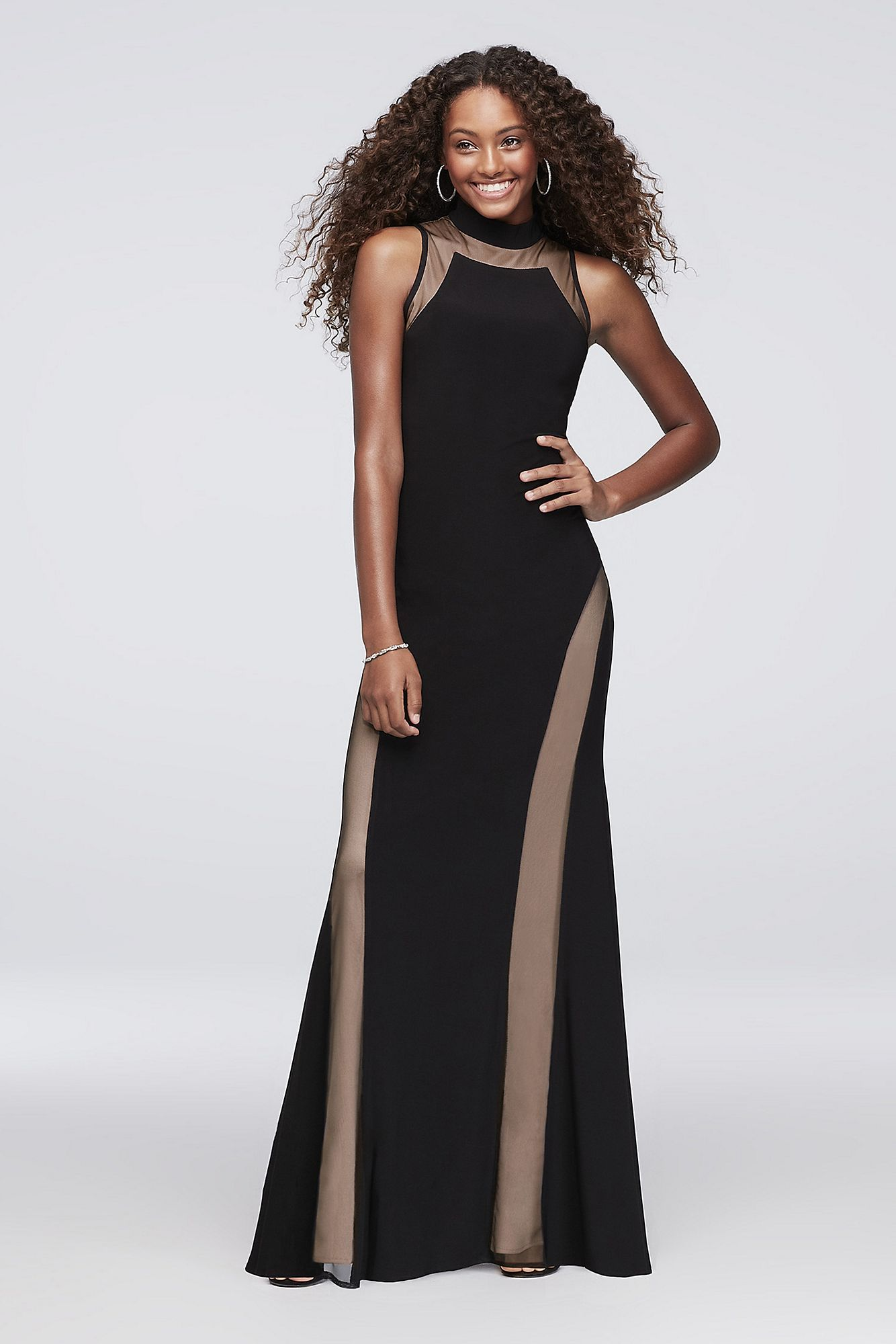 68c2bc5a1ae 2018 New Style Mock-Neck Jersey Gown with Illusion Insets Morgan and Co  21470