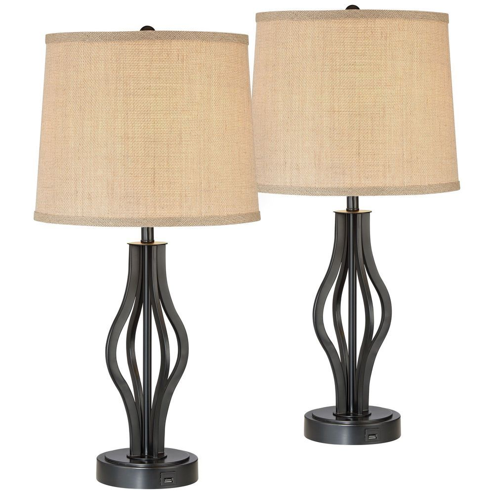 Set of Two) Bedroom Table Lamps with Charging USB Charging ...
