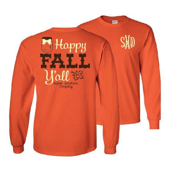 Happy Fall Y'all Monogrammed Long Sleeve Shirt Fall ...