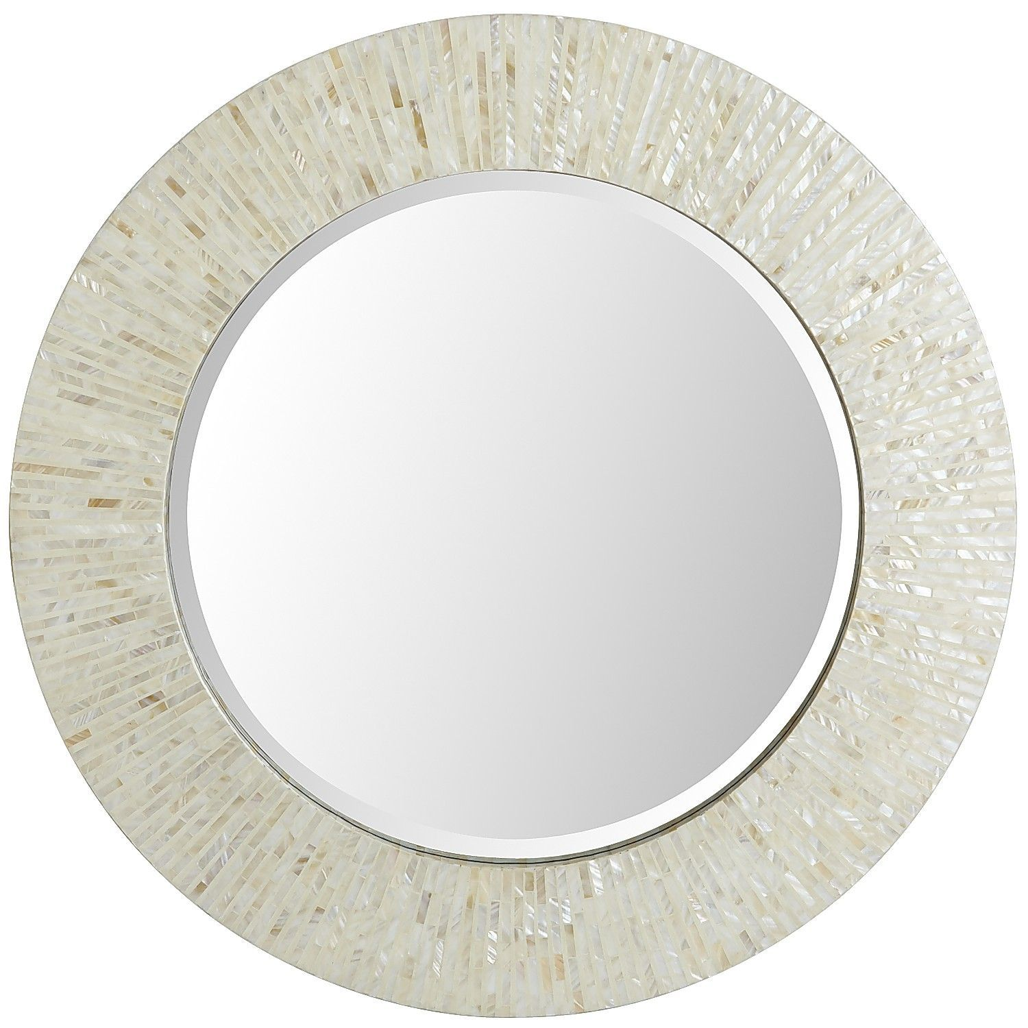 Pier 1 ivory mother of pearl mirror round