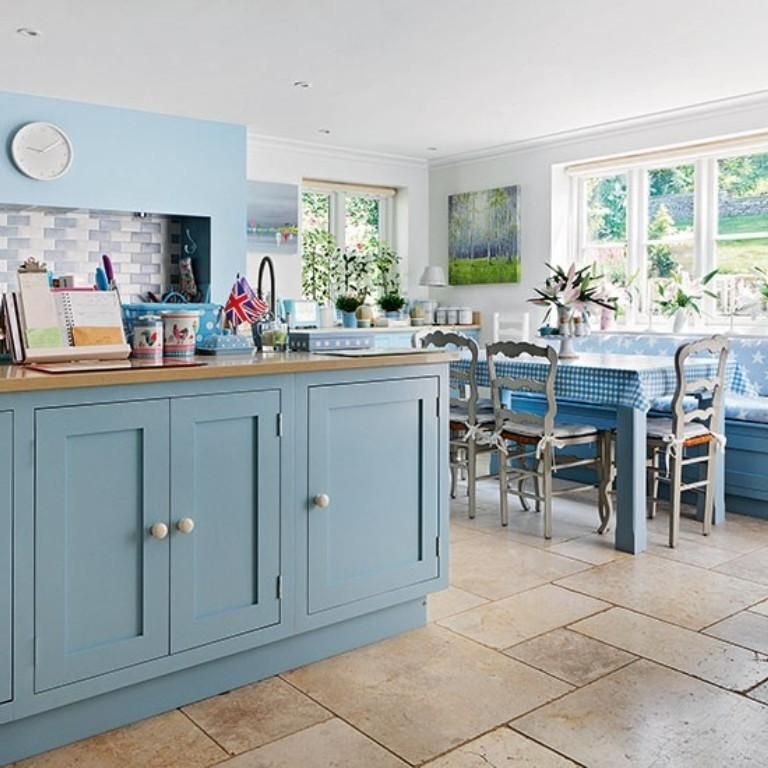 Vintage Country Kitchen Design With Blue Wooden Cabinets And