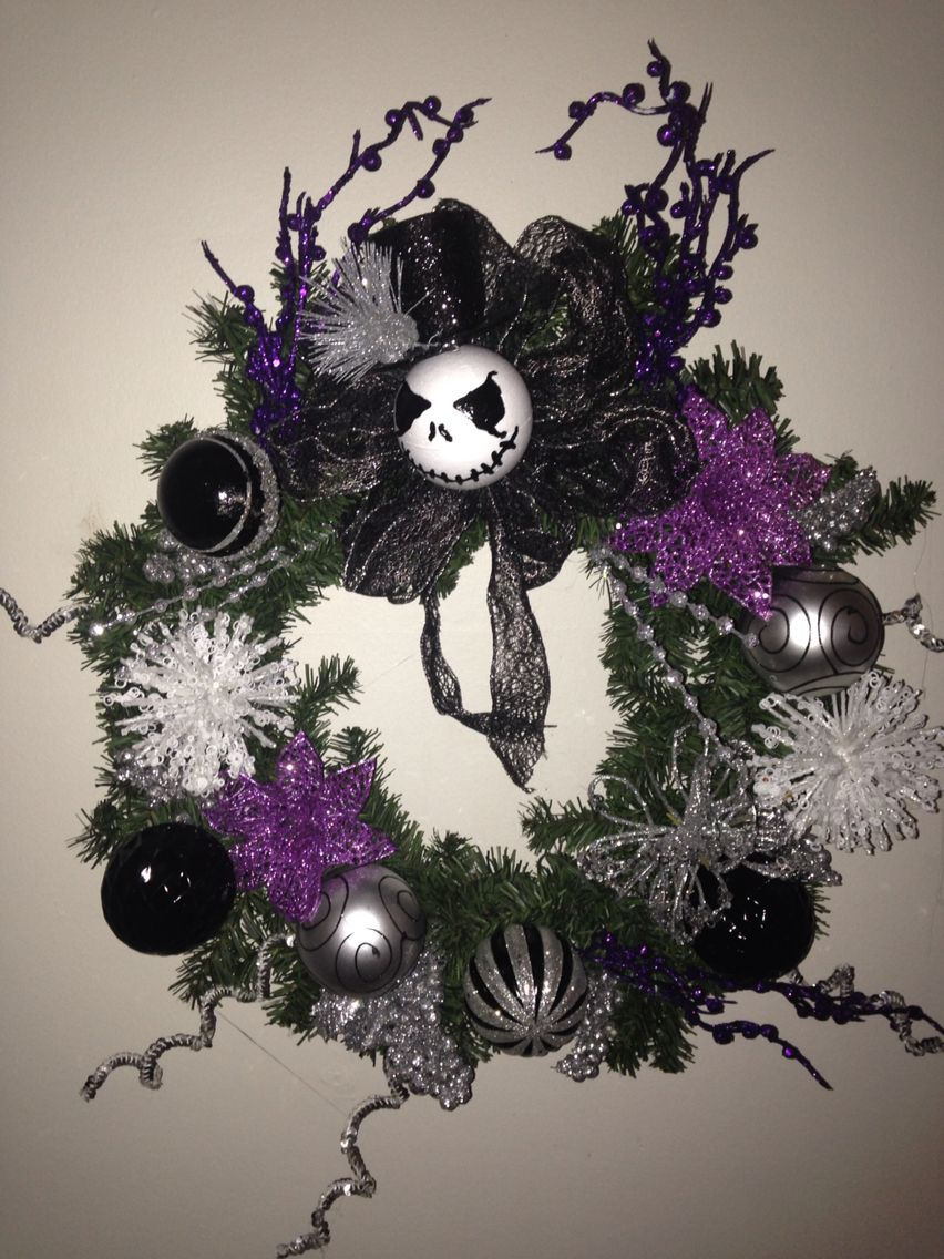 Nightmare before Christmas wreath     message my shop on Etsy for custom orders:   https://www.etsy.com/shop/DiddysCraftShop    or find us on Facebook !   https://m.facebook.com/diddyscraftshop
