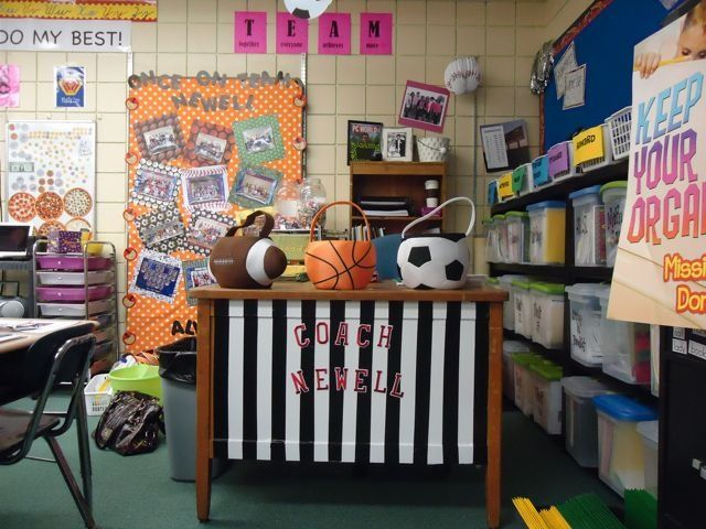 Image Result For Decorating A Middle School Science Classroom Sports Classroom Decorations Middle School Science Classroom School Sports Theme
