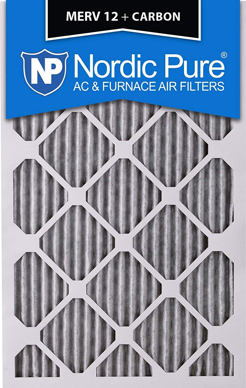 Nordic Pure 20x25x1 MERV 12 Pleated Plus Carbon AC Furnace