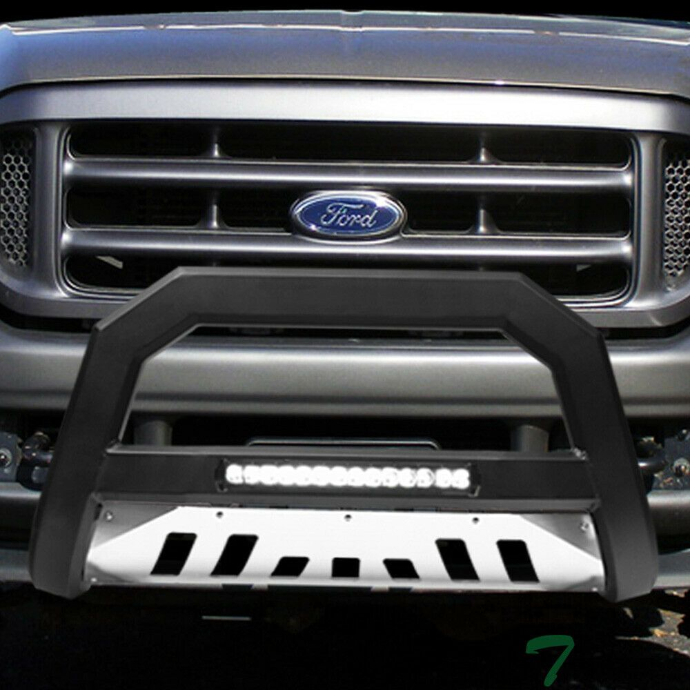 Sponsored Ebay Topline For 1999 2004 Ford F250 F350 Avt Aluminum Led Bull Bar Matte Blk Skid Ford F250 Bull Bar F250