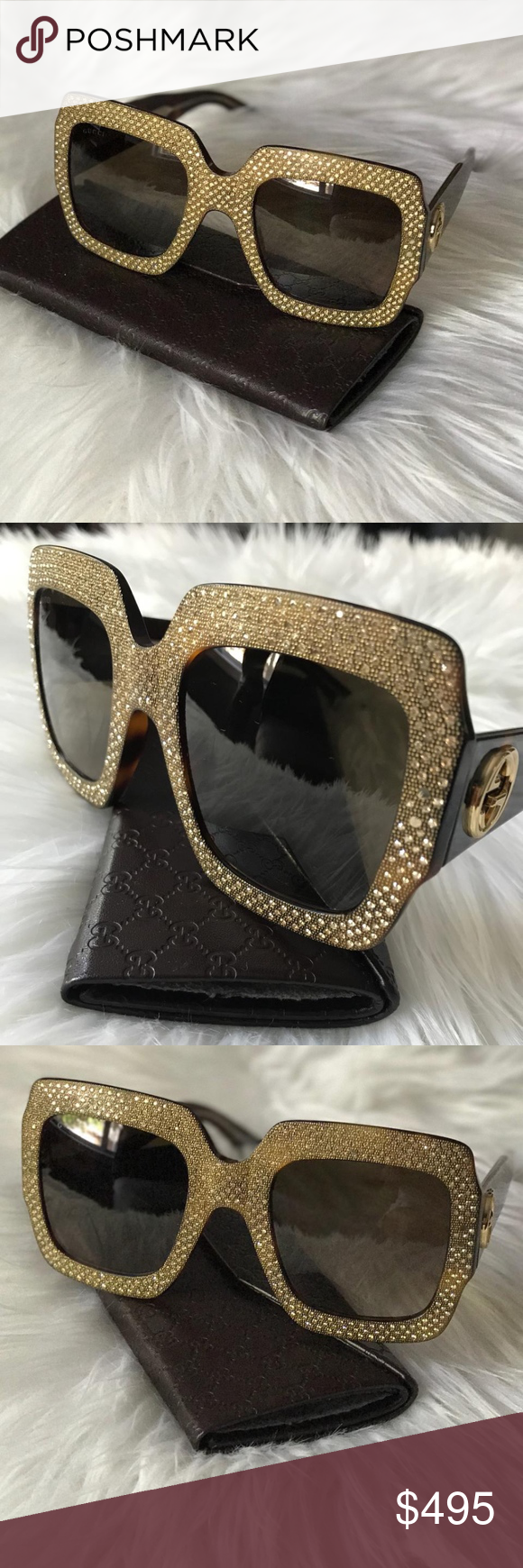 1e26cacd48e54 GUCCI Oversize Square Rhinestone Sunglasses GG3861 100% Authentic New Gucci  GG 3861 S Overssize