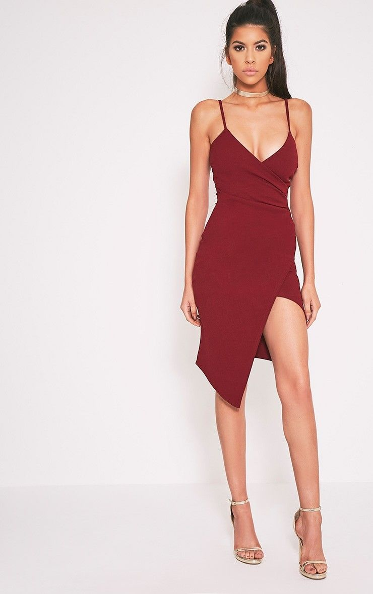 Lauriell Burgundy Wrap Front Crepe Midi Dress Pretty Little Thing