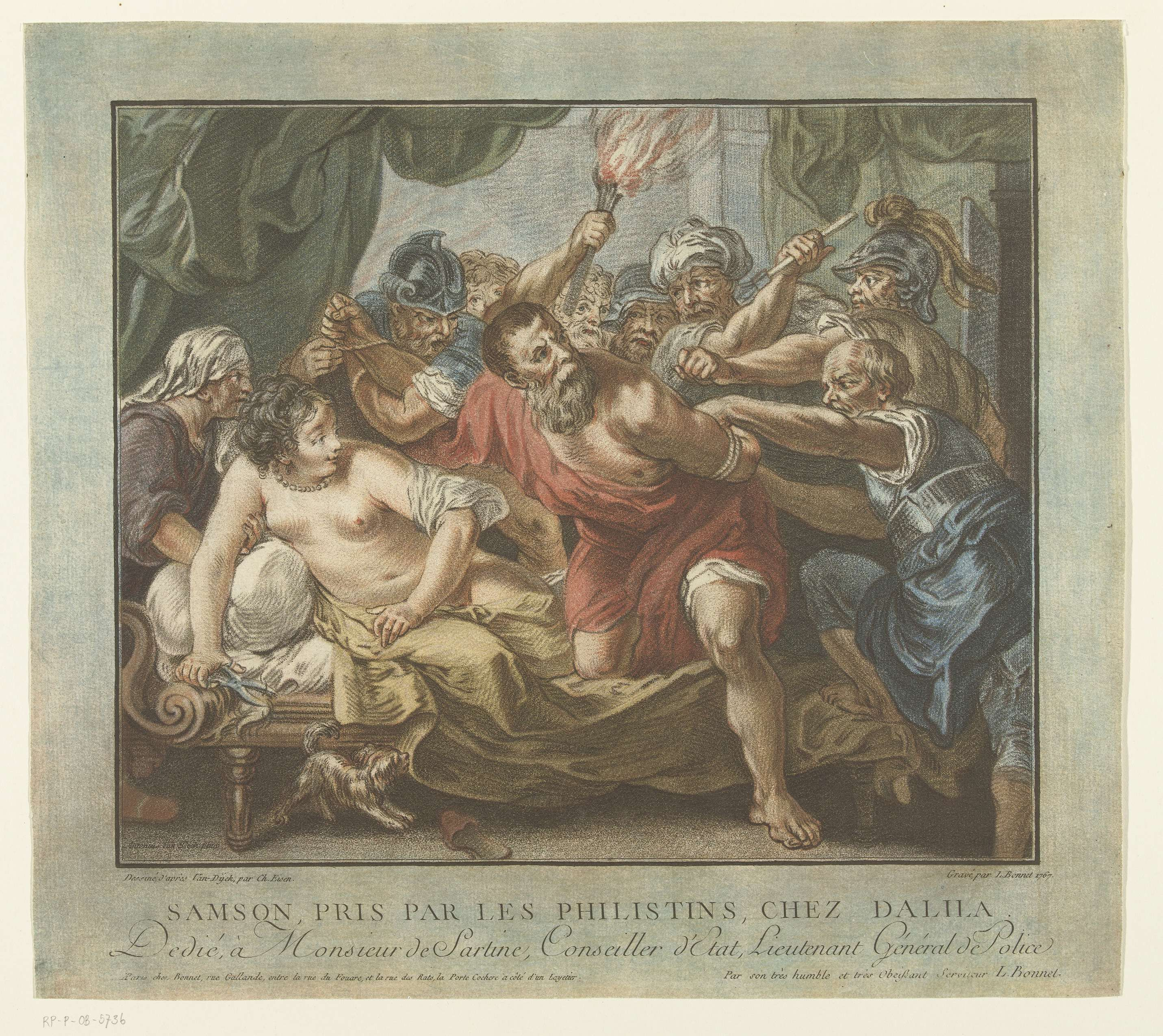 Louis Marin Bonnet | Simson en Delila, Louis Marin Bonnet, 1767 - 1768 | Simson wordt gevangen genomen door een groep Filistijnen. Delila met ontbloot bovenlichaam, zit op haar bed, met de schaar en een pluk haar in haar rechterhand.