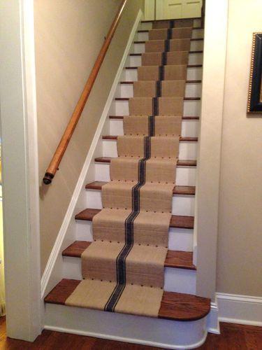 Antique Vintage Stair Runner Grain Sack Fabric One Yard Length Hemp Blue Stripes Ebay