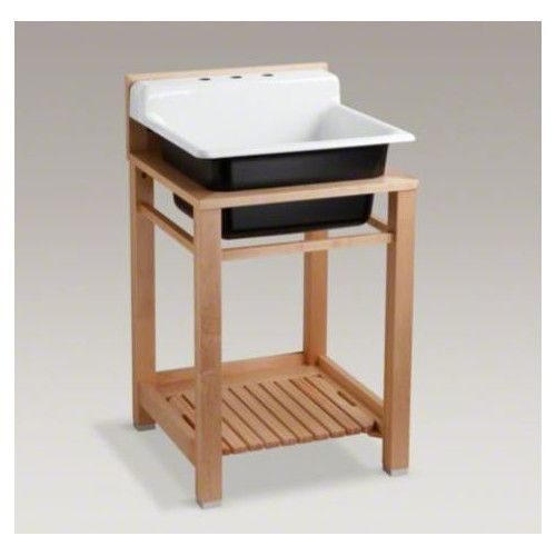 Kohler Bayview Wood Stand Utility Sink With Three Hole Faucet