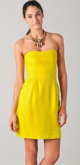 Yellow Strapless Cocktail Dress - Ocodea.com