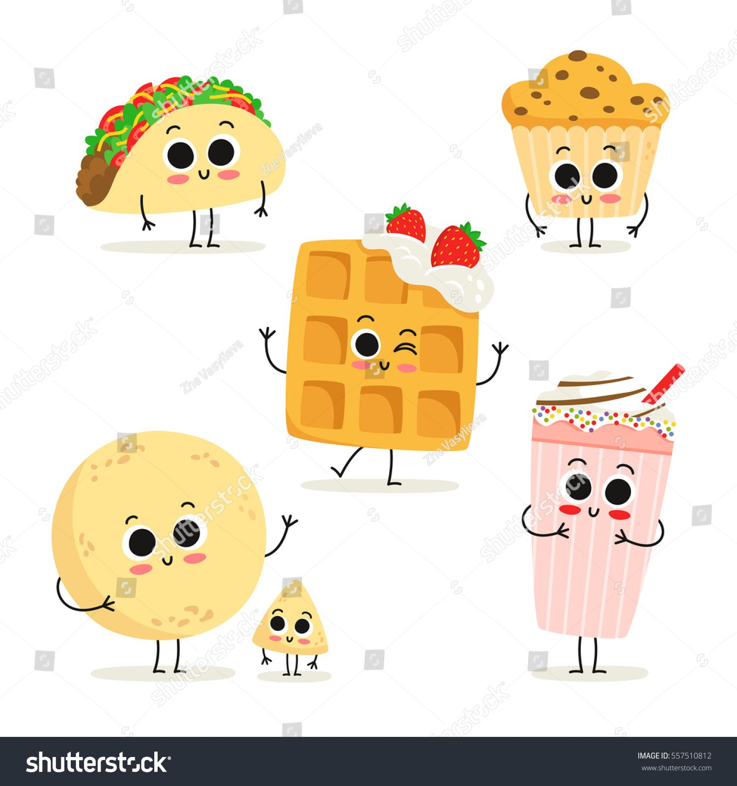Cute Set Of Six Cartoon Fast Food Snack Characters Isolated On White Taco Muffin Waffle Milkshake Tortilla Cute Cartoon Food Cartoon Cake Cartoon Cupcakes