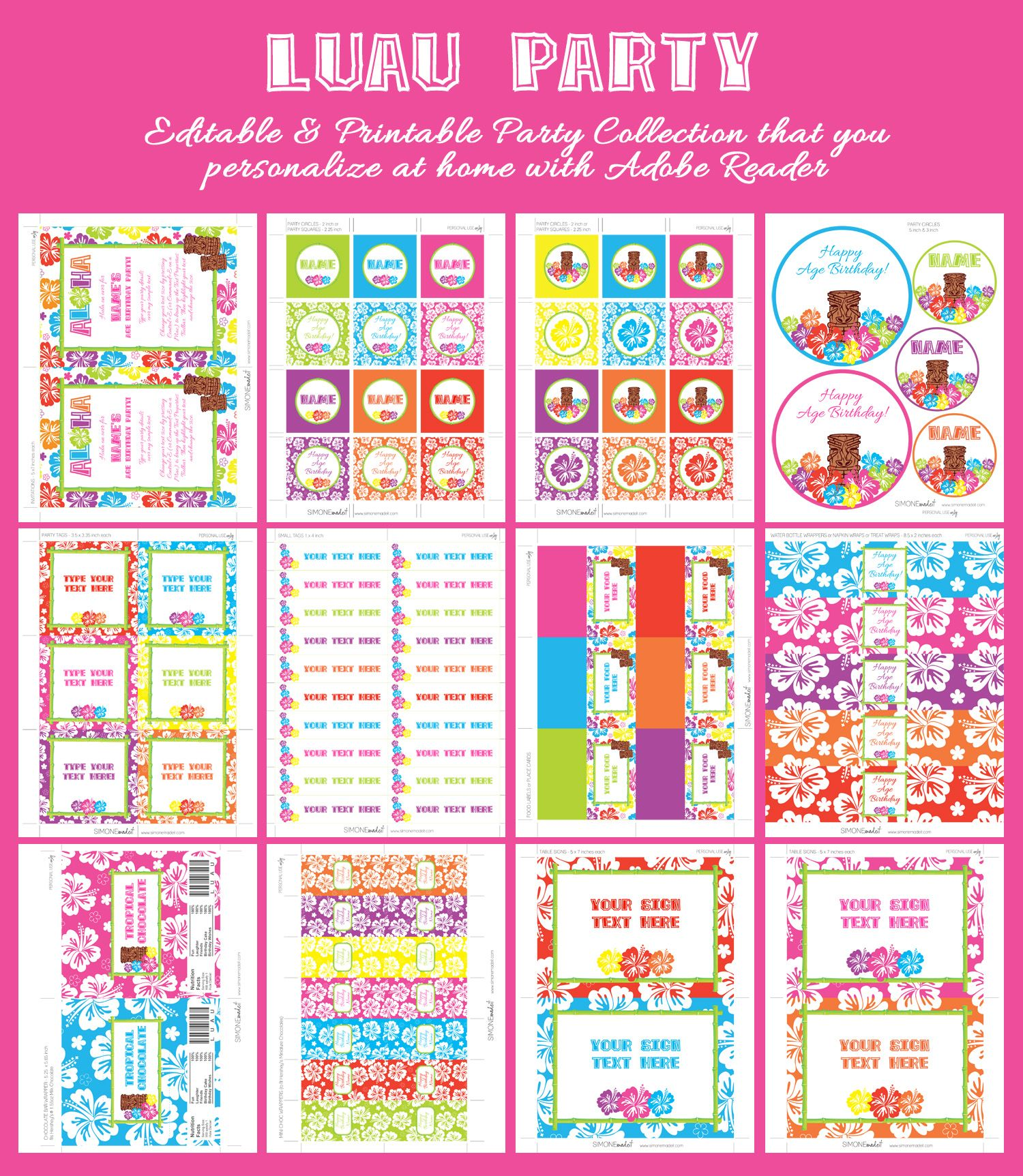 Luau Party Printables Invitations Amp Decorations