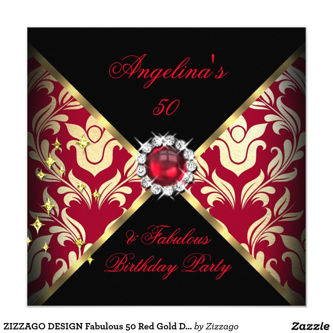 ZIZZAGO DESIGN Fabulous 50 Red Gold Damask Party 5.25x5.25 Square ...