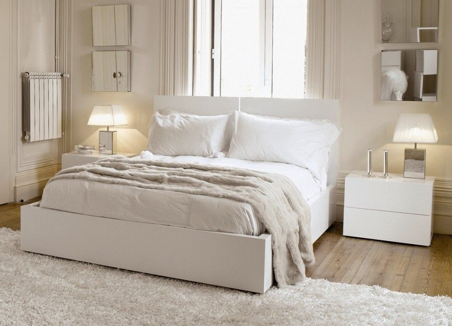 Charming Bedroom Ideas With White Headboard Bed Along Light Gray