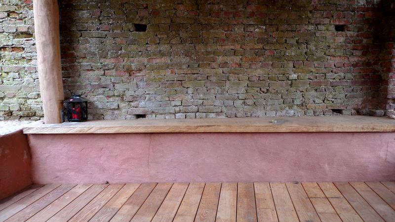 terrasse bois et banc rouge terrasse pinterest rouge. Black Bedroom Furniture Sets. Home Design Ideas