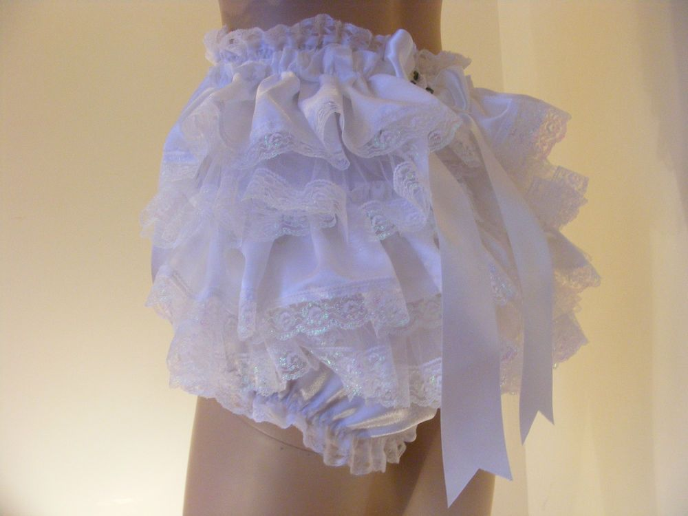 4bb7c1f4f WHITE SATIN/LACE FRILLY SISSY ADULT BABY PANTIES, DIAPER COVER, KNICKERS  ABDL