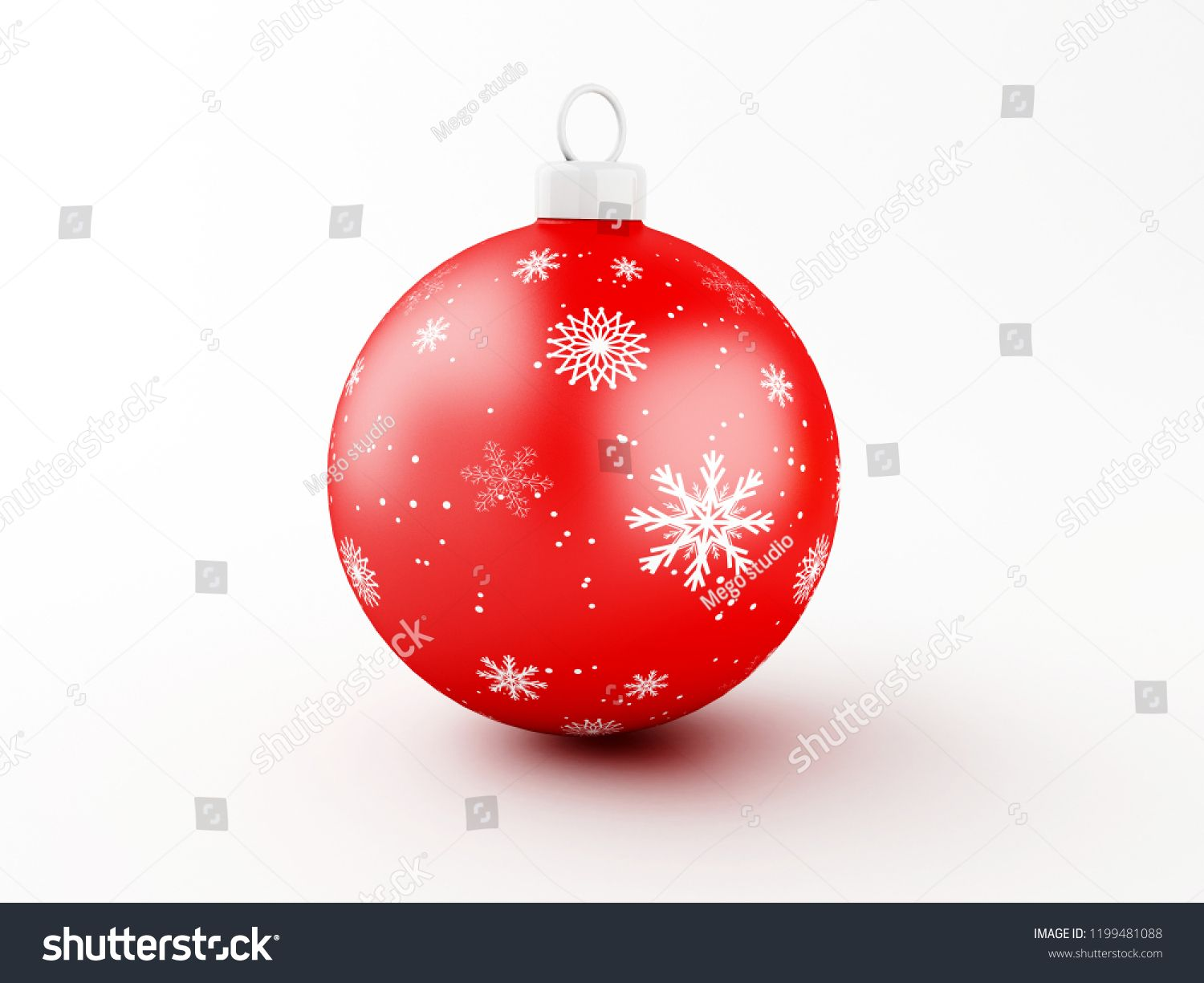 3d Illustration Red Christmas Ball On White Background Traditional Ornament Happy Winter Holidays And Merry Traditional Ornaments Happy Winter Red Christmas