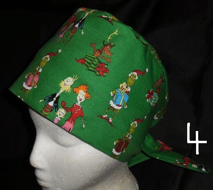 d3ca6e3a90e Dr Seuss The Grinch And Cindy Lou Who Christmas Pediatric Ladies Nurses  Scrubs Hats Scrub Caps
