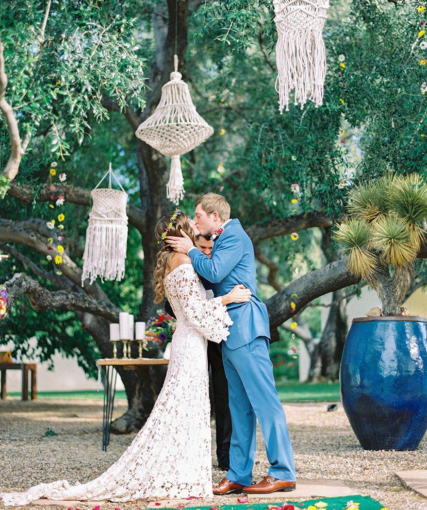 macrame chandeliers for a bohemian wedding