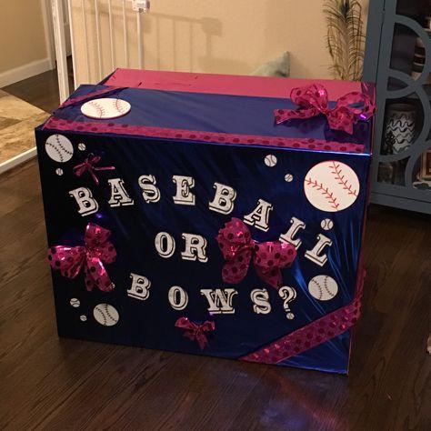 Gender Reveal Box Baseball Or Bows Baseball Gender Reveal Baby Gender Reveal Baby Shower Gender Reveal