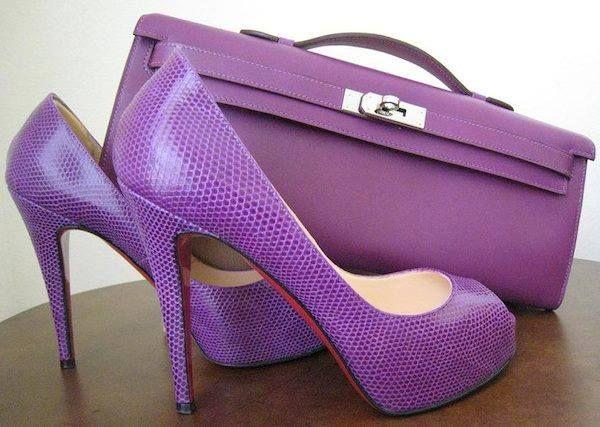 purple clutch and purple loubies