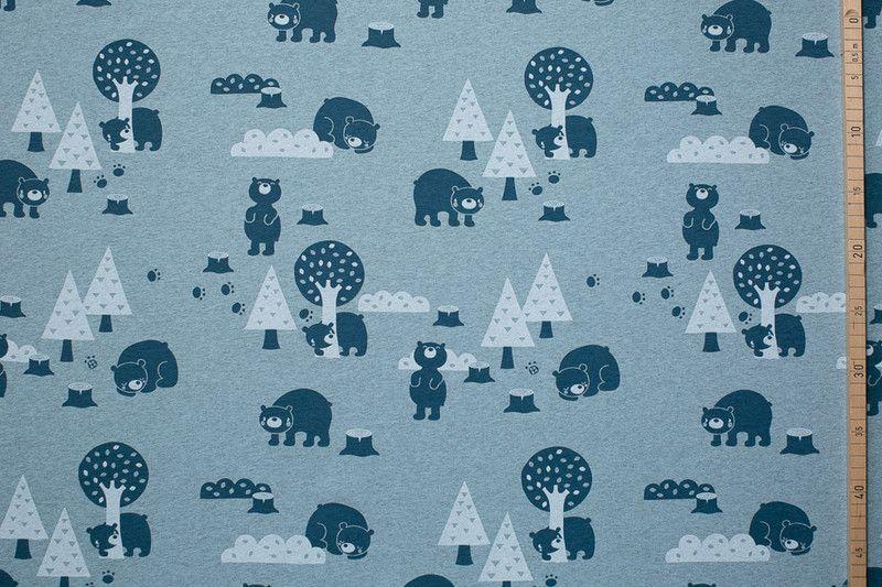"""Bio-Stoffe - BIO Jersey """"Bears, meliert"""" Lillestoff - ein Designerstück von PinkPeppa bei DaWanda"""