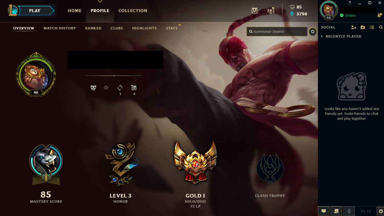 League of Legends account EUNE 46LV Gold 1 HONOR 3 Buy LoL accounts
