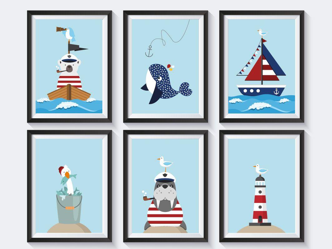 Maritime Deko, Kinderbilder, Kinderzimmer, Poster