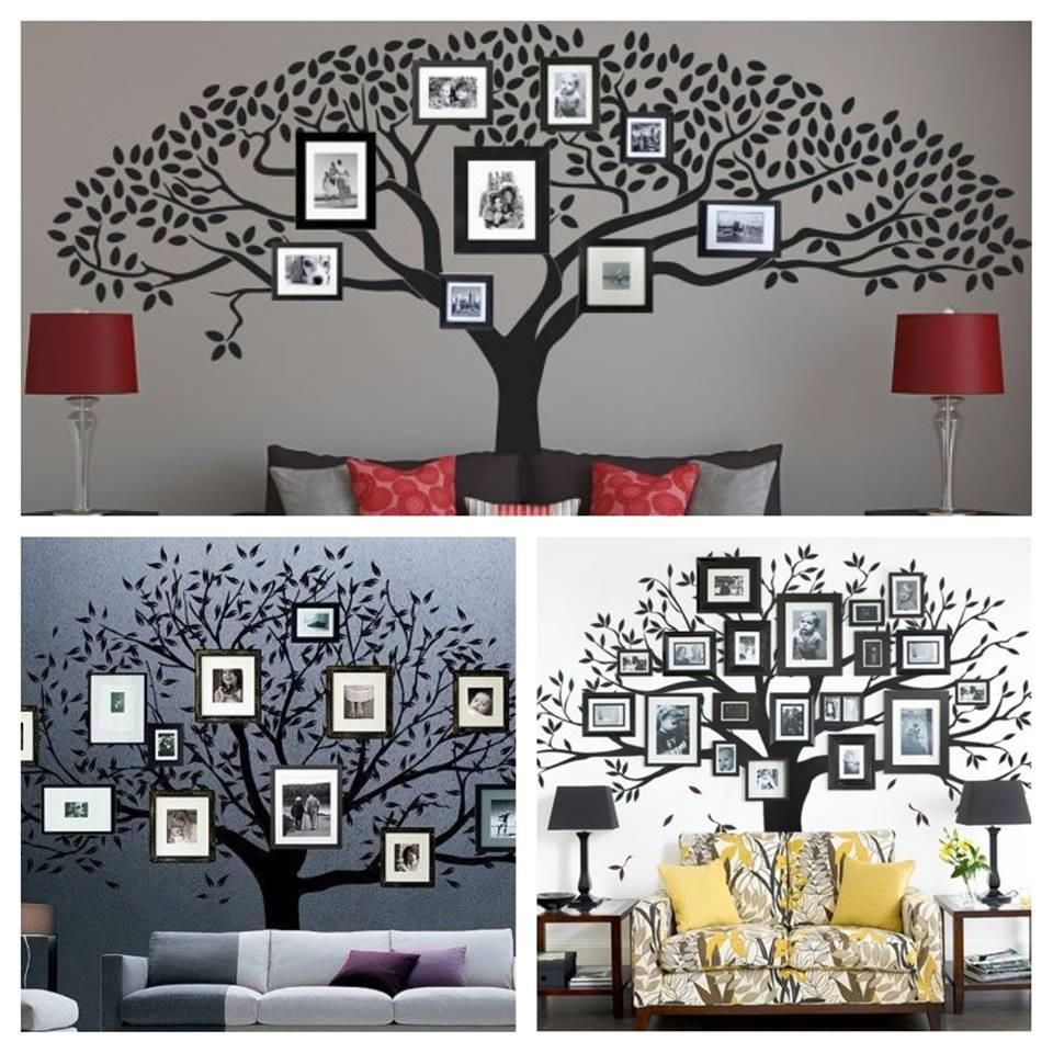 Picture frame family tree wall art tree decals trendy wall designs - Image Of Cool Tips For Family Tree Wall Decal Rooms