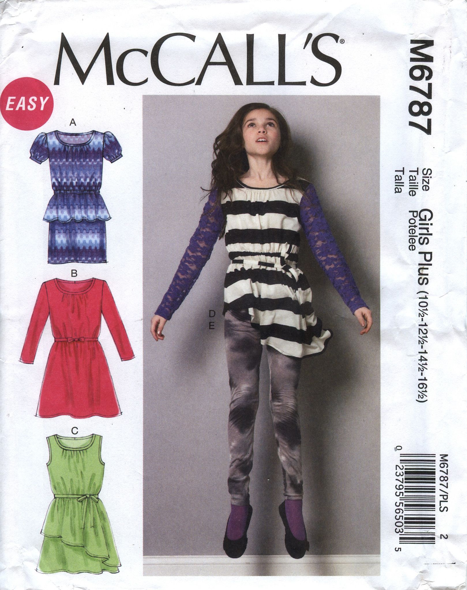 McCall\'s 6787 Girls\'/Girls\' Plus Dresses, Tunic, Belt and Leggings