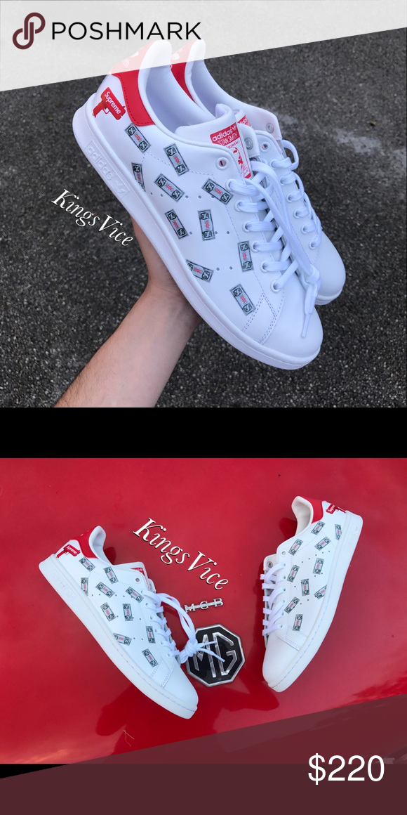Stan Smith X Supreme Money Gun Custom Adidas 100 Authentic Print And