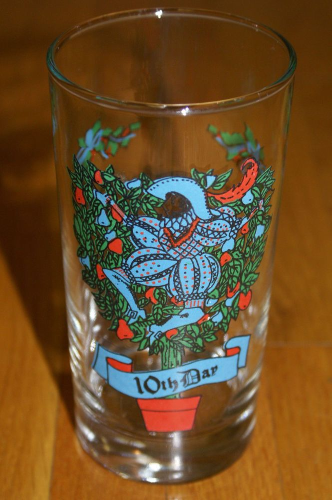 10th Day Vintage INDIANA GLASS Twelve Days of Christmas Glass Tumbler 12 oz.