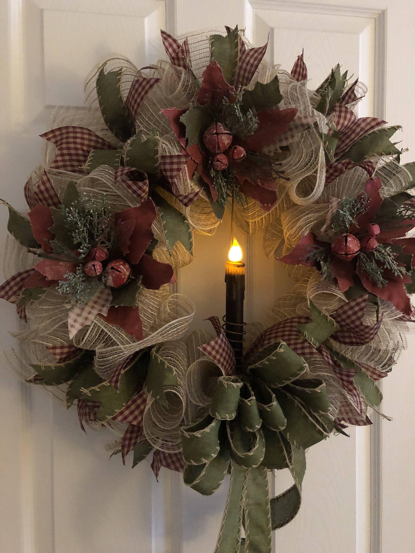 Christmas Wreath, Primitive Wreath, Winter Wreath