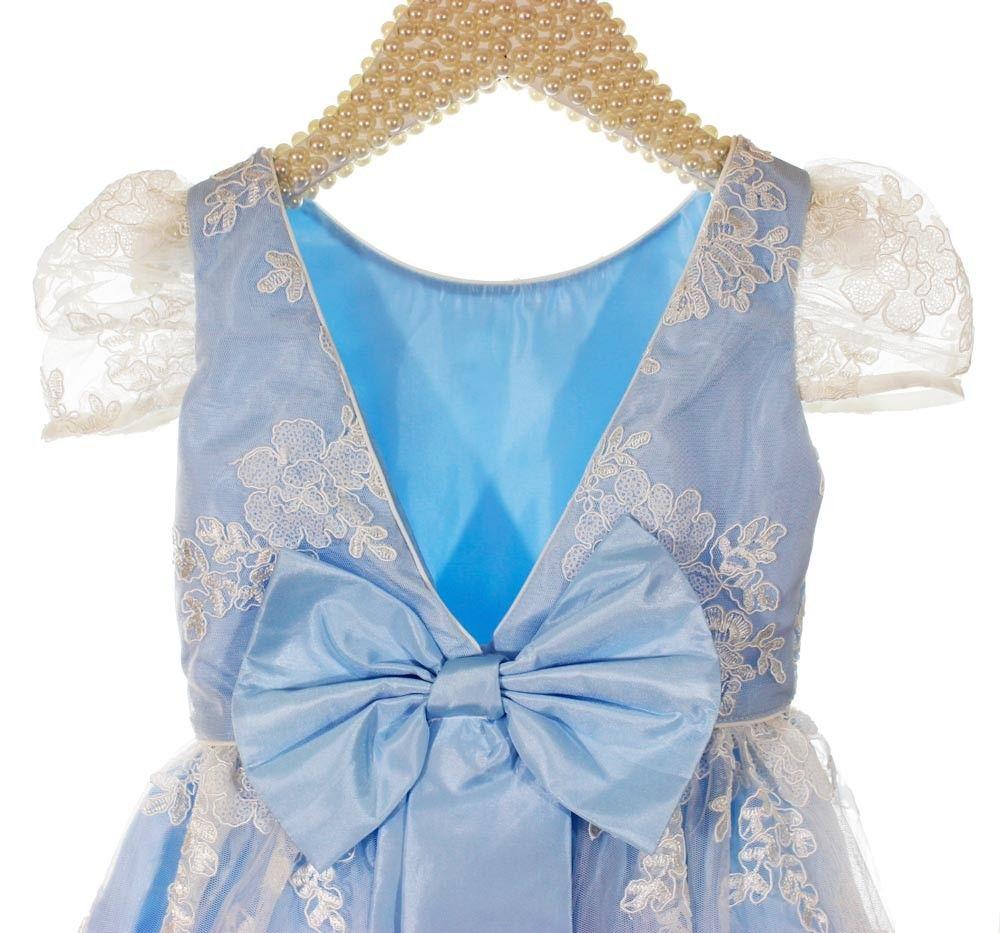 7bc5b27d4 Vestido Infantil de Festa Azul Renda Branca Mio Bebê Princesa   Kidesfile -  Artigos Infantis